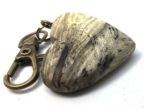 LV-4329 California Buckeye Burl Wooden Heart Shaped Charm, Keychain, Unique Hand Made