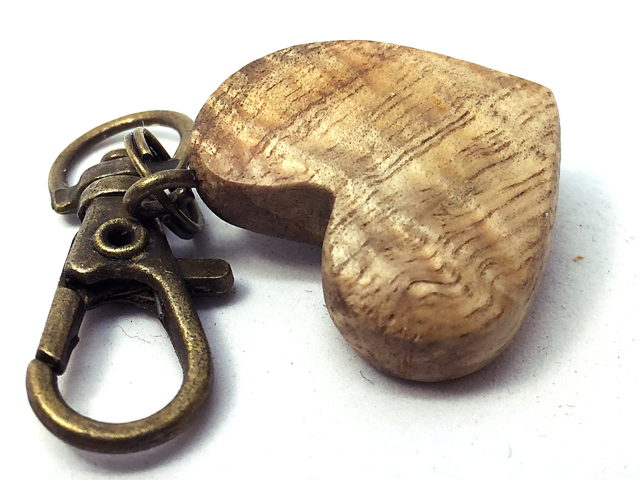 LV-4331  Curly Hawaiian Koa Wooden Heart Shaped Charm, Keychain, Unique Hand Made
