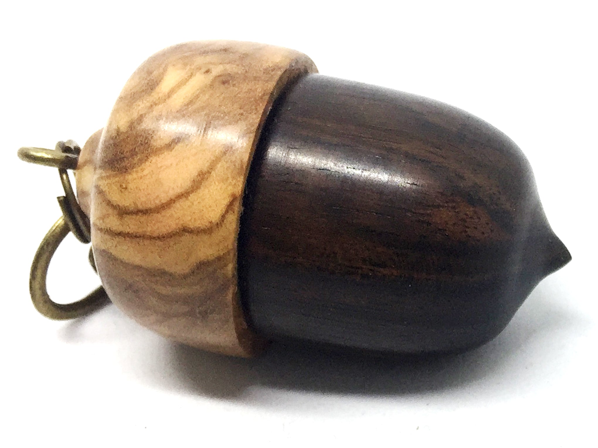 LV-4339 Acorn Pendant Box, Secret Compartment from Mun Ebony with Olive Burl cap-SCREW CAP