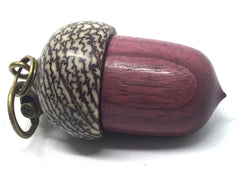 LV-4340  Purpleheart & Betelnut Acorn Box, Pill Holder, Compartment Pendant-SCREW CAP
