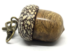 LV-4343  Pollyanna Burl & Betel Nut Acorn Pendant Box, Charm, Pill Holder-SCREW CAP