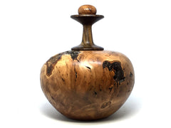 LV-4363  Cotoneaster Burl & Black Chacate Lidded Vessel-Threaded