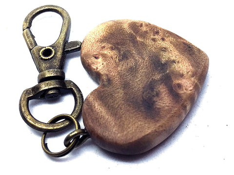 LV-4369 Pacific Dogwood Burl Wooden Heart Shaped Charm, Keychain, Wedding Favor-HAND CARVED