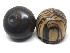 LV-4405 Black/White Ebony & Greenheart Acorn Jewelry Box, Pill Box, Trinket Box-SCREW CAP