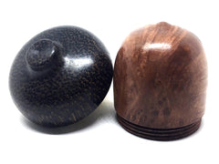 LV-4406  Redwood Burl & Black Palm Acorn Pill Box, Engagement Ring Box-SCREW CAP