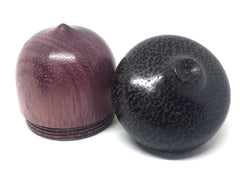 LV-4408 Purpleheart & Black Palm Wooden Acorn Trinket Box, Keepsakes, Jewelry Box-SCREW CAP
