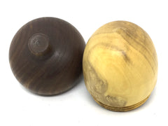 LV-4433  French Boxwood & Lignum Vitae  Acorn Pill Box, Jewelry, Engagement Ring Box-SCREW CAP