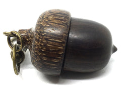 LV-4451 Mun Ebony & Black Palm Nut Acorn Pendant Box, Needlecase, Pill Holder-SCREW CAP