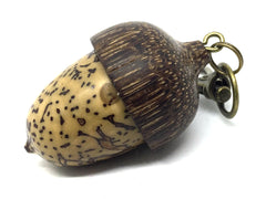 LV-4453 Mun Ebony & Yollilo Palm Nut Acorn Pendant Box, Charm, Pill Holder-SCREW CAP