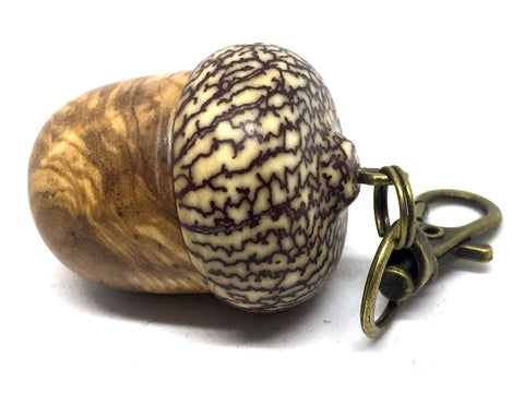 LV-4517  Olive Burl & Betelnut  Acorn Box, Pill Holder, Compartment Pendant-SCREW CAP