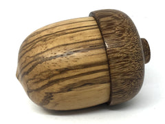 LV-4555  Wooden Acorn Box, Ring Box, Pill Box Zebrawood & Brownheart -SCREW CAP