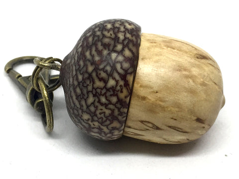 LV-4607 Masur Birch  and  Betel Nut Acorn Key Fob, Pill Holder, Compartment Pendant-SCREW CAP