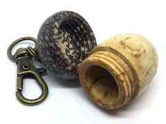 LV-4608 Masur Birch  and  Betel Nut Acorn Key Fob, Pill Holder, Compartment Pendant-SCREW CAP