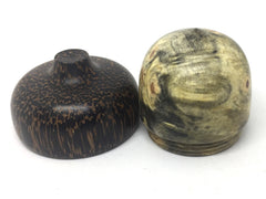 LV-4682   Buckeye Burl & Black Palm Acorn Pill Box, Engagement Ring Box-SCREW CAP