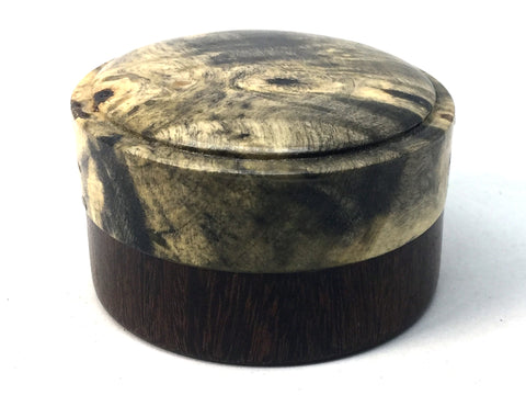 LV-4695 Buckeye Burl cap with Suriname Ironwood  Flat Box for Ring, Jewelry, Pills-SCREW CAP