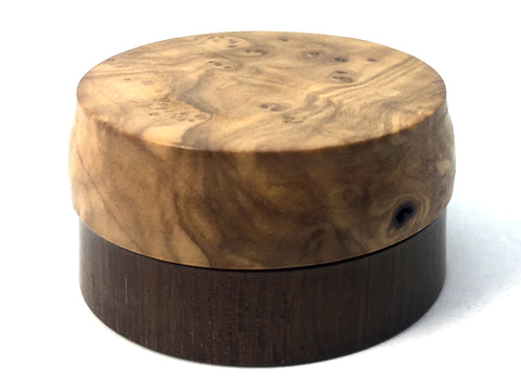 LV-4698 Olive Burl cap with Brown Ebony Flat Box for Ring, Jewelry, Pills-SCREW CAP