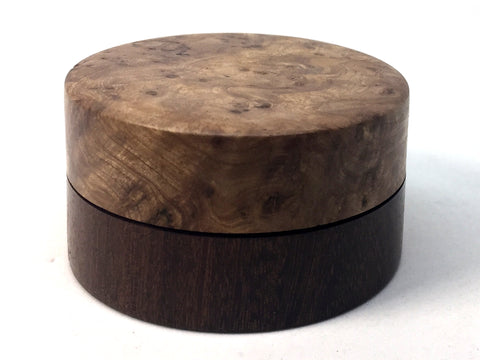 LV-4702 Black Cherry Burl cap with Suriname Ironwood  Flat Box for Ring, Jewelry, Pills-SCREW CAP