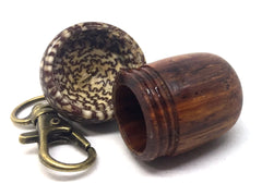 LV-4737 Cocobolo Rosewood & Betel Nut Acorn Pendant Box, Pill Fob, Secret Compartment-SCREW CAP