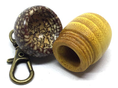 LV-4884 Osage Orange & Betel Nut Acorn Pendant Box, Keychain, Pill Fob-SCREW CAP