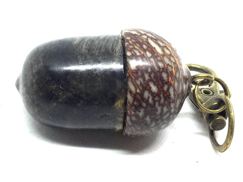 LV-4885  Acorn Pendant Box, Pill Fob from California Buckeye Burl & Betel Nut-SCREW CAP