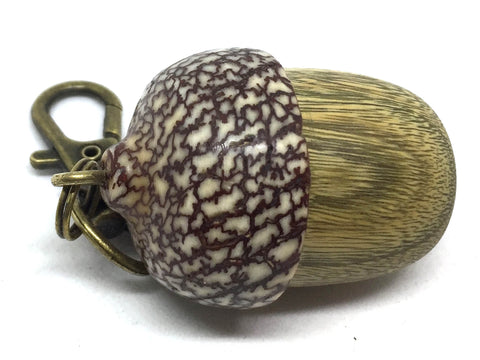 LV-4888 Verawood & Betelnut Acorn Box, Pill Holder, Compartment Pendant-SCREW CAP