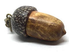 LV-4891  Mango Burl & Betel Nut Acorn Pill Box, Secret Compartment Pendant-SCREW CAP