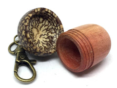 LV-4906  Pink Ivory & Betelnut Acorn Box, Bag Charm, Compartment Pendant-SCREW CAP