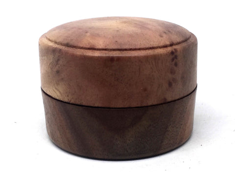 LV-4927 Camphor Burl cap & Black Walnut base Flat Pill Box, Ring Holder, Jewelry Box-SCREW CAP