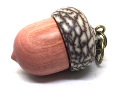 LV-4966  Pink Ivory & Betelnut Acorn Box, Bag Charm, Compartment Pendant-SCREW CAP