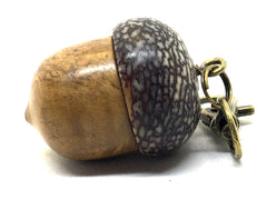 LV-4972  Brown Mallee Burl & Betelnut Acorn Box, Pill Holder, Compartment Pendant-SCREW CAP