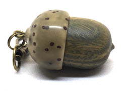 LV-4973  Verawood & Raffia Palm Nut  Acorn Box, Pill Holder, Compartment Pendant-SCREW CAP