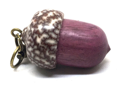 LV-4978 Acorn Pendant Box, Secret Compartment from Purpleheart & Betel Nut-SCREW CAP