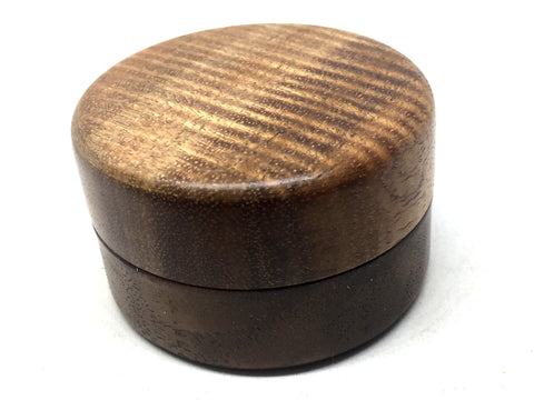 LV-4995  Curly Koa & Walnut Wooden Flat Pill Box, Ring Holder, Jewelry Box-SCREW CAP