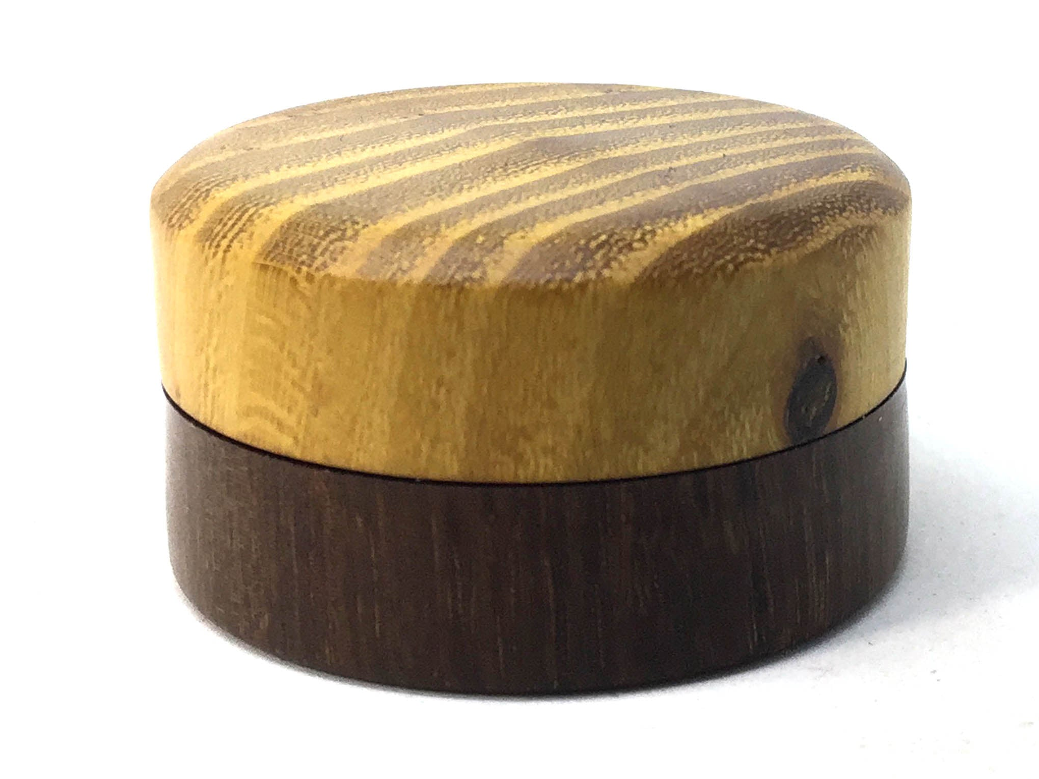 LV-4997  Osage Orange & Brown Ebony Pill Box, Ring Holder, Jewelry Box-SCREW CAP