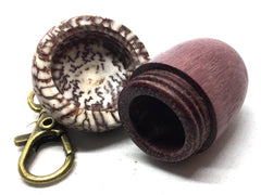 LV-5007 Purpleheart & Betelnut  Acorn Box, Pill Holder, Compartment Pendant-SCREW CAP