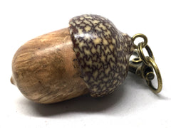 LV-5010  Black Cherry Burl & Betelnut Acorn Box, Pill Holder, Compartment Pendant-SCREW CAP