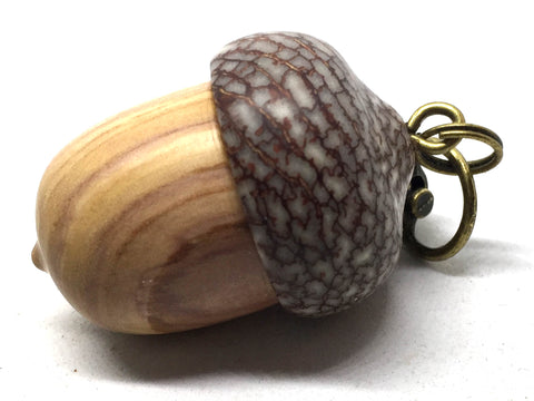 LV-5011 Purple Lilac & Betelnut Acorn Pill Fob, Secret Compartment, Jewelry Box-SCREW CAP