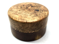 LV-5015 Black Cherry Burl cap with Suriname Ironwood  Flat Box for Ring, Jewelry, Pills-SCREW CAP