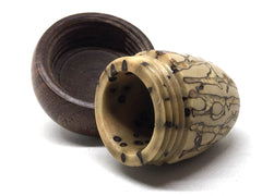 LV-5017 Yollilo Palm Nut & Brown Ebony Acorn Pill Box, Engagement Ring Box-SCREW CAP