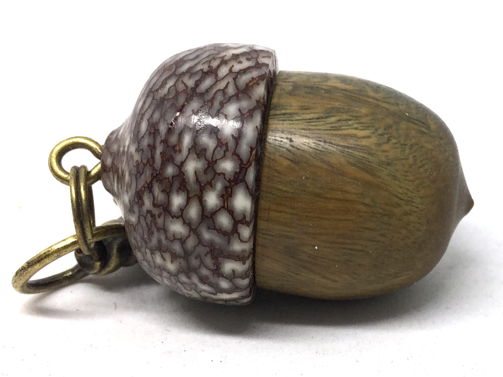 LV-5021 Verawood & Betelnut Acorn Pendant Box,Bag Charm, Keychain-SCREW CAP