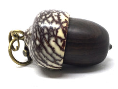 LV-5022  Mun Ebony & Betelnut Acorn Pendant Box,  Pill Holder-SCREW CAP