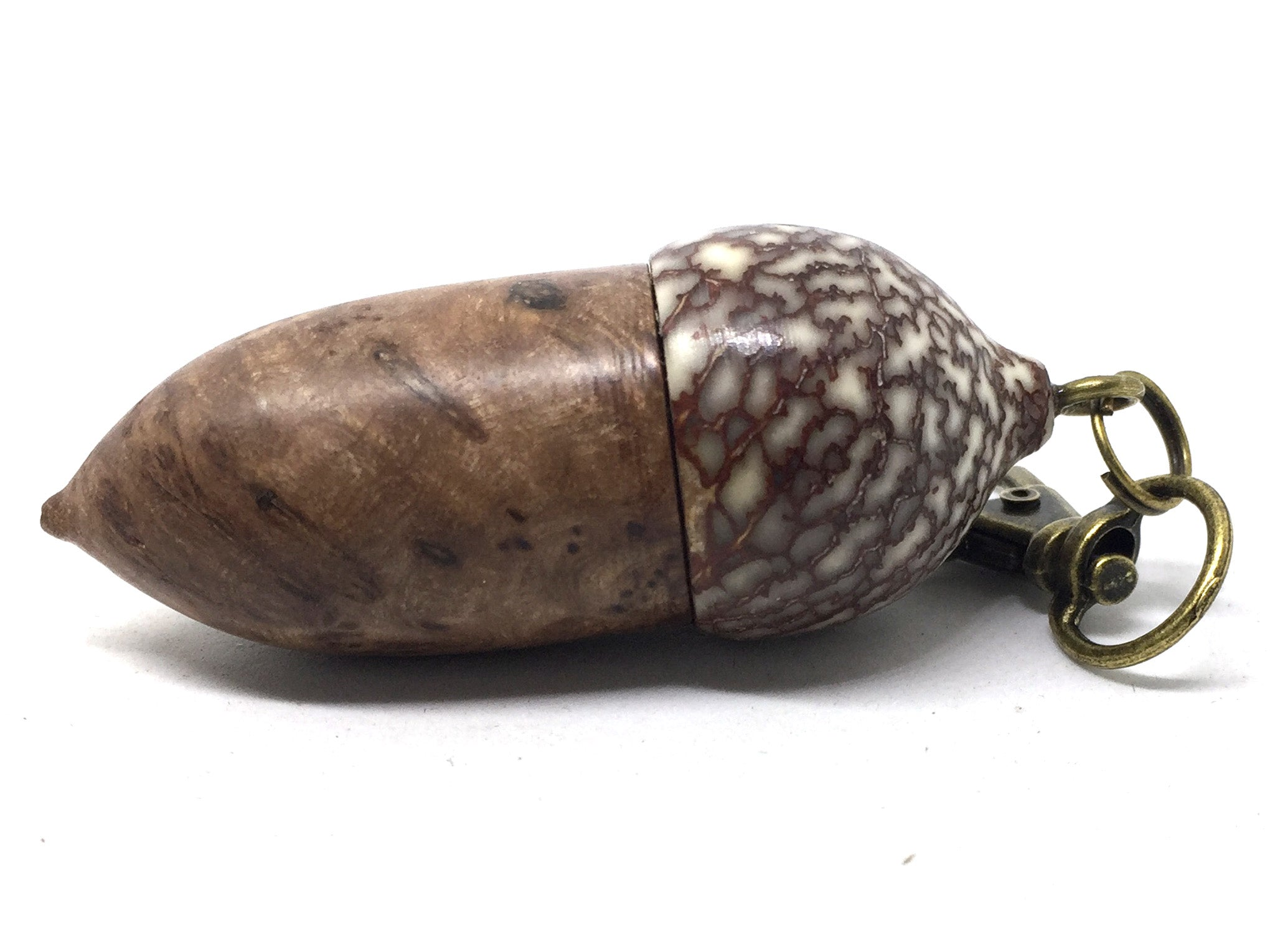 LV-5031  Papaturro Burl & Betelnut Acorn Pendant Box, Pill Holder-SCREW CAP