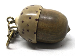 LV-5033  Verawood & Raffia Palm Nut  Acorn Box, Pill Holder, Compartment Pendant-SCREW CAP