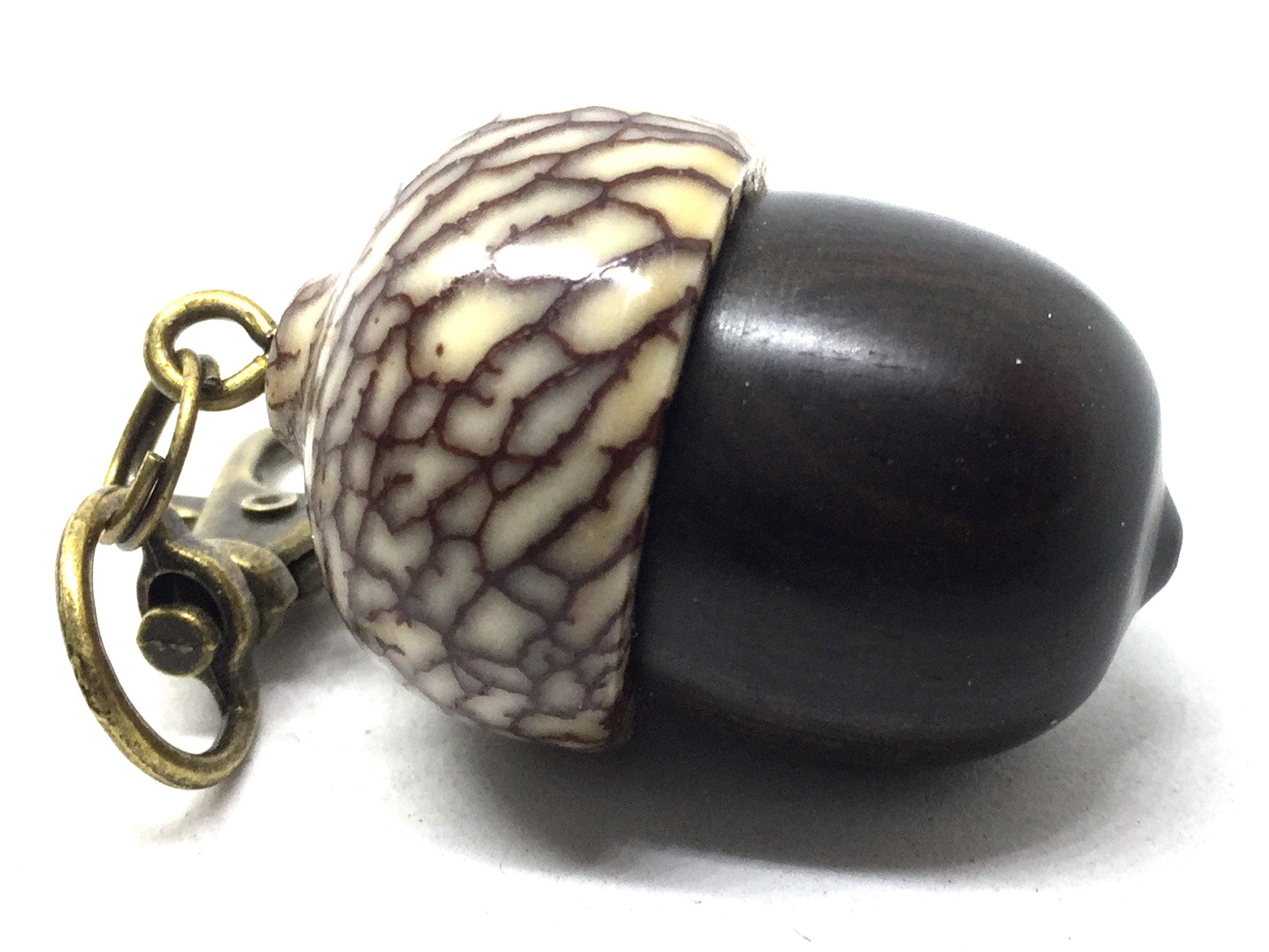 LV-5042  Mun Ebony & Betelnut Acorn Pendant Box,  Pill Holder-SCREW CAP