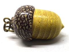 LV-5043 Osage Orange & Betel Nut Acorn Pendant Box, Keychain, Pill Fob-SCREW CAP