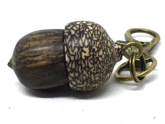 LV-5055 Black & White Ebony & Betelnut Acorn Pendant, Bag Charm, Secret Compartment-SCREW CAP