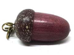 LV-5058 Purpleheart & Betelnut  Acorn Box, Pill Holder, Compartment Pendant-SCREW CAP
