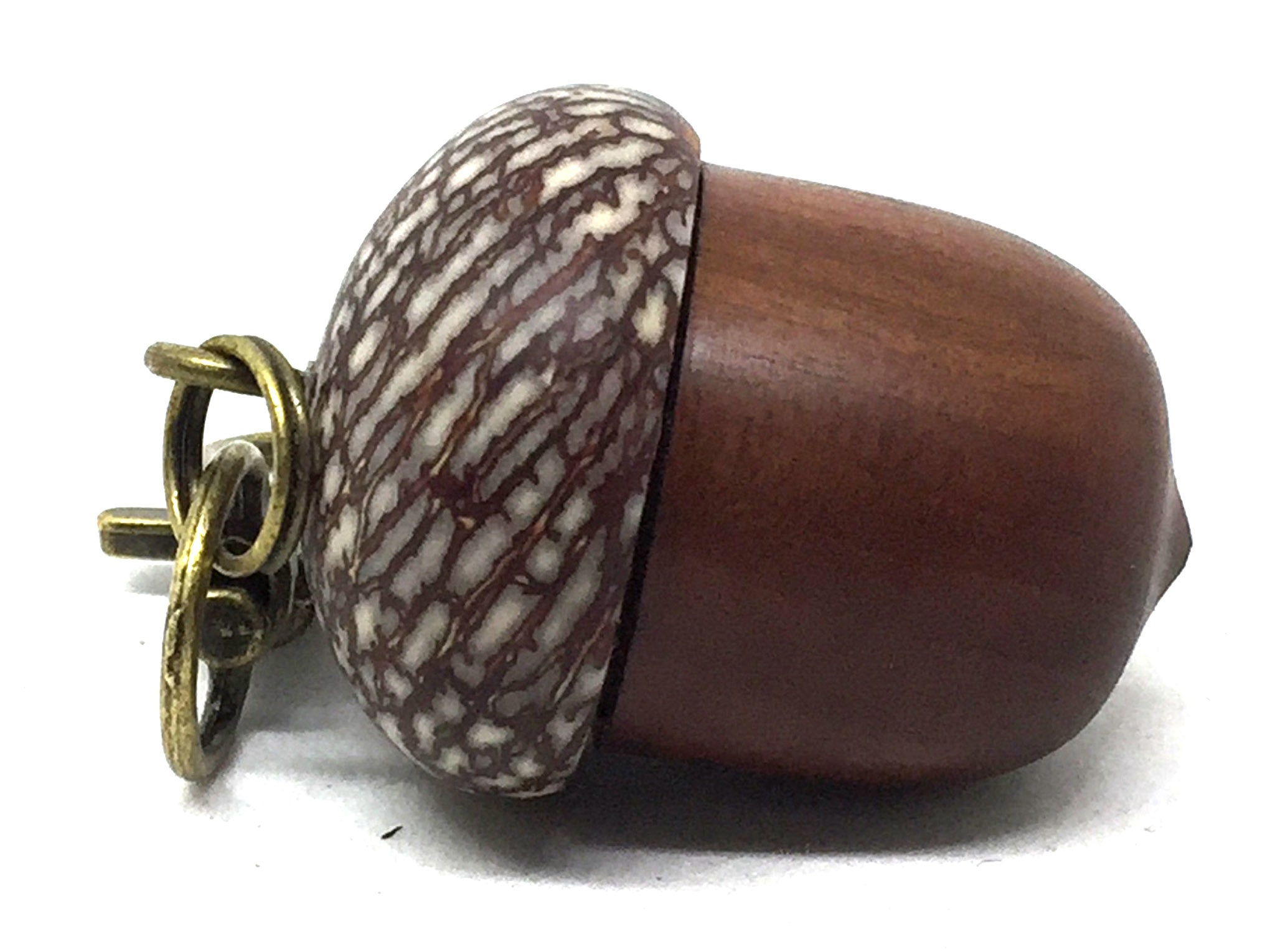 LV-5072 Manzanita & Betel Nut Acorn Pendant Box, Charm, Pill Holder-SCREW CAP