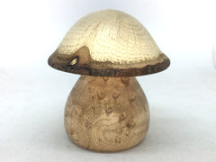 LV-5075 Birdseye Maple  & Valley Oak Wooden Mushroom Keepsake Box, Pill, Jewelry Box-THREADED