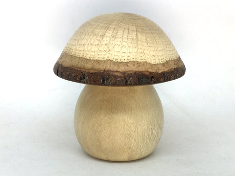 LV-5079  American Holly Stalk & Valley Oak Wooden Mushroom Keepsake Box, Pill, Jewelry Box-THREADED